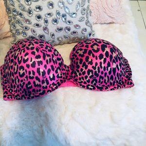 NEW PINK Cheetah Print bra! Size 34D!!